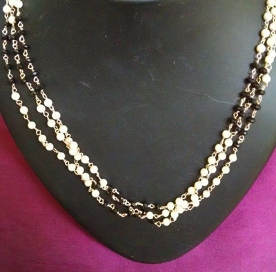 b9b7b0422b Qoo10 - Indian Fashion Charm Black Crystal N Pearl 3 Layer Women Beach  Neckla... : Watch & Jewelry