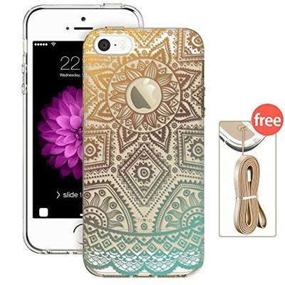 cheap for discount 98735 25249 iPhone 5s Case, iPhone 5s Case Clear with Design, ESR Hybrid Case [One  Piece] TPU Bumper +Hard PC Ba