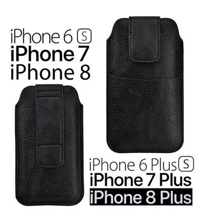 online store 8f0b6 a9a41 iPhone 6/7/8 6 Plus/7 Plus/8 Plus Belt Sleeve Pouch Waist Phone Holder Soft  Leather Case BLACK
