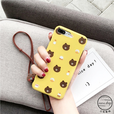 promo code 10be7 325d9 iphone 8 case iphone 8 plus phone case phone cover Line friends iphone 8  phone shell lanyard iPhone7