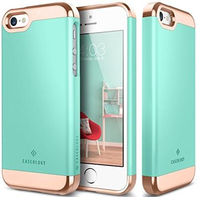 new arrival f728c e9a7d iPhone SE Case, Caseology® [Savoy Series] Chrome / Microfiber Slider Case  [Turquoise Mint] [Premium