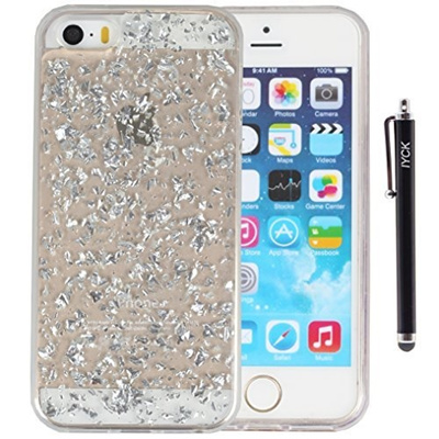 best cheap 089e4 d1d36 iPhone SE Case?? iPhone 5S Case?? iYCK Luxury Bling Glitter Sparkle [Gold  Foil Embedded] Transparent
