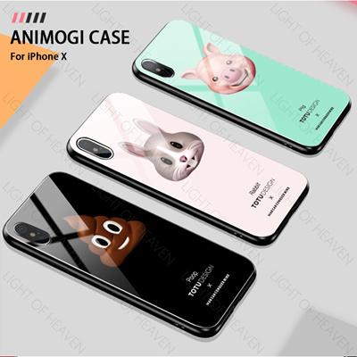 iphone X cartoon case TPU PC Back glass iphone X Animoji cute phone case  totu tempered glass casing