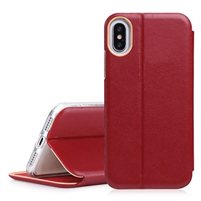 new concept 36c59 62c4e iphone X Case, FYY 100% Handmade Genuine Leather Wallet Case with Card Slot  and Kickstand Function f