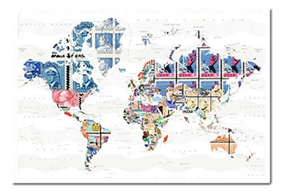 Qoo10 iposters world map in stamps poster magnetic notice board iposters world map in stamps poster magnetic notice board white framed 965 x gumiabroncs