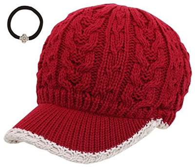Qoo10 - J-Fashion Womens Cable Knitted Double Layer Visor Beanie Hat with  MIRM...   Fashion Accessor. 6ed6f23edc9