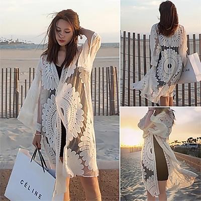 f8f04956f5 Jacket travel sunblock translucent sexy beach coat bikini cover up swimwear  outerwear Sarong