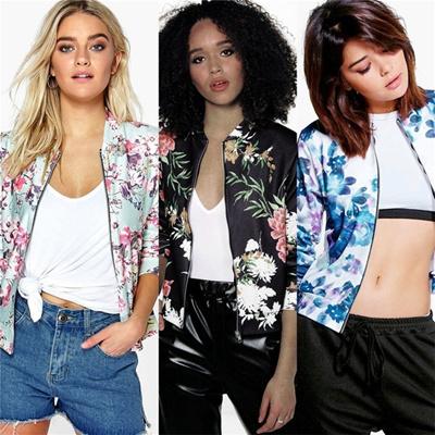 Jaket Lengan Wanita Elegan Tops Outwear Lady Slim Fit Zipper Cropped Blazer  Suits f9dcd74f64