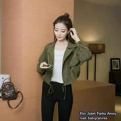 Qoo10 - Jaket Wanita    Jaket Hoodie    Kim Jaket Parka Army   Pakaian 40978544e2