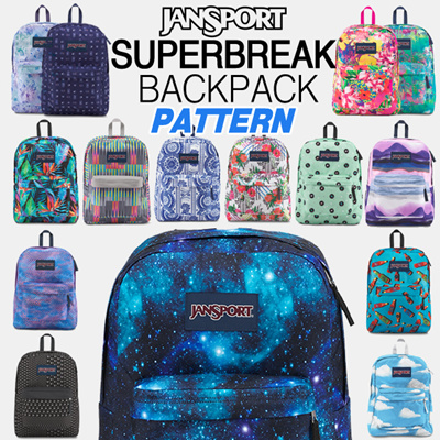 53e3cceaf307  JANSPORT  Limited SUPERBREAK pattern Backpack 18type Authentic 100% School  bag