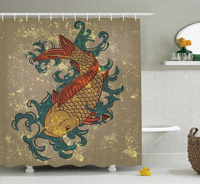 Japanese Decor Shower Curtain Grunge Asian Style Oriental Cold Water Koi Carp Fish Aquatic Theme