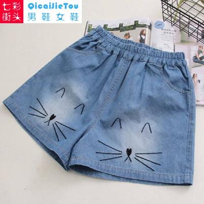 1c4615820 Qoo10 - Japanese female students Sen cats embroidery loose denim shorts  female... : Women's Clothing