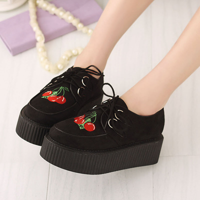 366327ae5f3b Qoo10 - Japanese Harajuku shoes Korean platform shoes Ayumi with embroidery  la...   Shoes