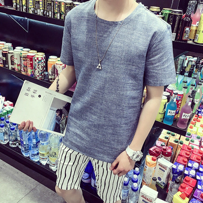 b488a9d92f Qoo10 - Japanese vintage linen short sleeve summer t-shirt men s XL plus  ferti...   Men s Apparel