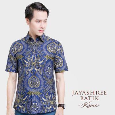 Jayashree Batik Slimfit Kama Blue Short Sleeve