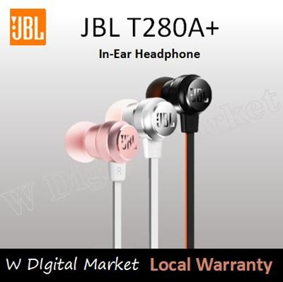 Otentik JBL T280A + Titanium Diaphragm Stereo In-Ear Headphone Hitam / Merah Muda /