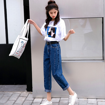 975f4dbb98af Qoo10 - Jeans female 2018 spring and summer Korean style high waist loose  stra...   Women s Clothing