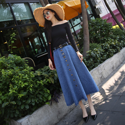 ee228b4f288 Jeans Skirt High Waist Women Button Down Pleated Denim Skirts Plus Size  Long Casual A Line