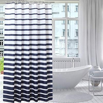 Qoo10 - JESMEDIS Waterproof Mildew Bathroom Curtain Navy Blue Stripes Shower C... : Kitchen & Dining