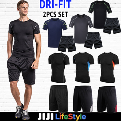 0b1d2794127 Qoo10 - ☆ DRI-Fit 2 Pcs Set (Tee + Shorts)T-shirt☆ Men Tight-Fit ...