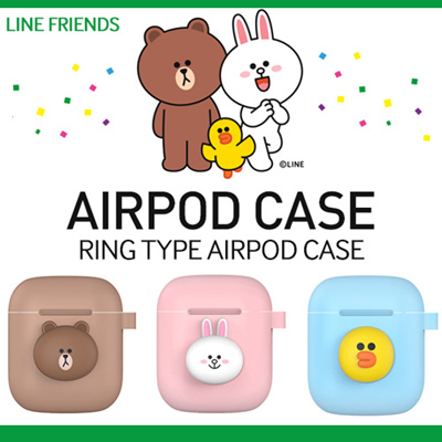 best service 88339 82ece [JK-Commerce] ★LINE FRIENDS★Apple AirPods Case/ Ring Type/ Airpod/ Silicone  Case/BROWN/CONY/SALLY