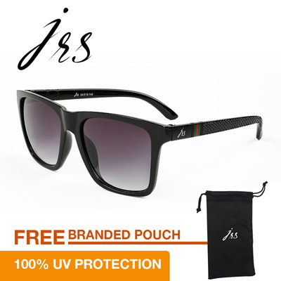 JRS Kacamata Unisex Hitam Persegi Panjang Proteksi UV 400 Lensa Gradient  Abu Abu P4738SD a19b48853e