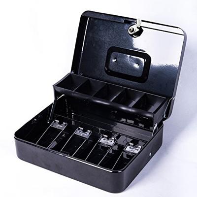 7d56de0c1ff2 Jssmst Locking Large Metal Cash Box with Money Tray,Lock Box
