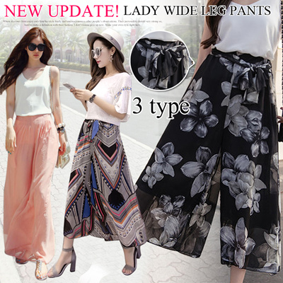 9a3dd7c86ced Summer Lady Wide Leg Pants Chiffon Beach Long Pants Culottes
