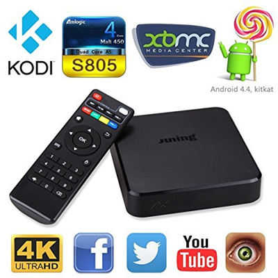 (JUNING) Android Tv Box Kodi Xbmc Fully Loaded 1080p Amlogic S805 Quad Core  1GB/8GB 4k IPTV OTT T
