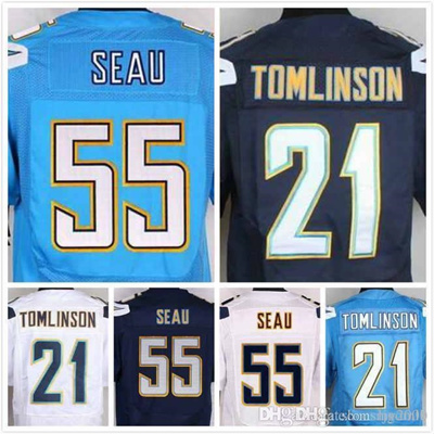 quality design 0fe46 951ac Junior Seau Jersey 55 LaDainian Tomlinson Jersey 21 Mens Elite Full  Stitched Jerseys Embroidery Logo