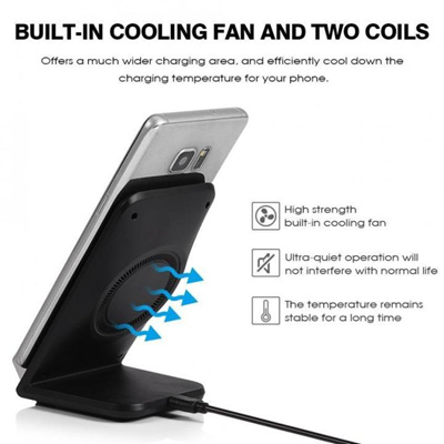 Justgogo-Qi Wireless Fast Charger Car Stand Dock with Cooling Fan