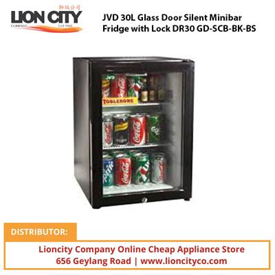 JVD 30L Glass Door Silent Minibar Fridge With Lock DR30 GD SCB BK