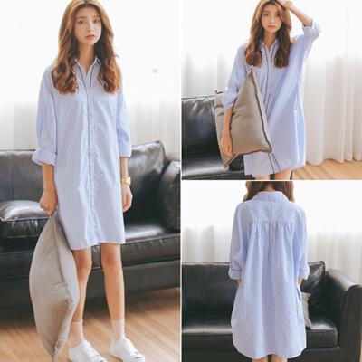 Qoo10 Jys Fashion Korea Style Blue Vertical Stripes Midi Dress