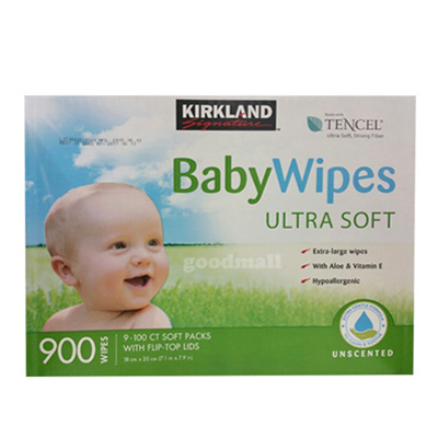 Kirkland Signature Baby Wipes Ultra Soft 100 Pack x5 with Flip-Top Lid Dispenser