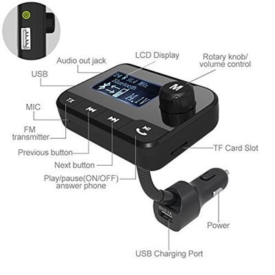 Kartice Wireless Bluetooth Fm Radio Transmitter Adaper Car Kit With 2 0  Inch LCD Display ,64G TF Car