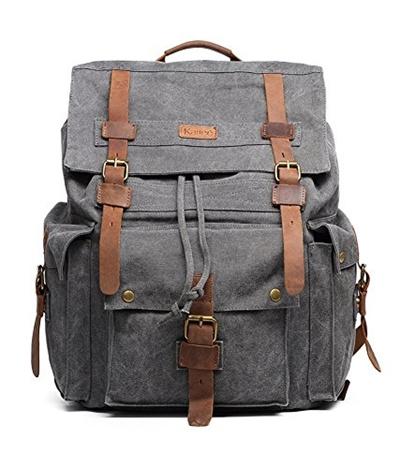 eb0dbf5e49 Qoo10 - Kattee Vintage Canvas Leather Hiking Travel Backpack Rucksack School  B...   Men s Bags   Sho.