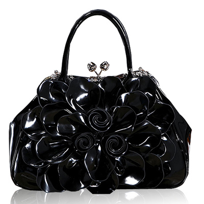 Kaxidy Fashion Lady Women Patent Leather Tote Shoulder Bag Handbag Per Hobo Messenger Flowers