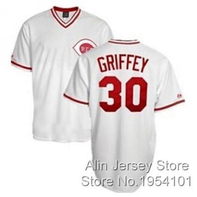 online store 2c638 18b51 Ken Griffey Jr Jersey #30 Cincinnati Reds Jerseys, Men' s Throwback  Baseball Jerseys White Stitch