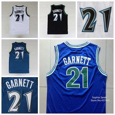 ce64652032f Kevin Garnett Jersey,#21 Kevin Garnett White Blue Black Throwback Vintage  Retro Basketball Jerseys