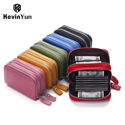 b9f9e7109a9f KEVIN YUN designer brand Fashion women card holder double zipper genuine  leather wallet credit cards