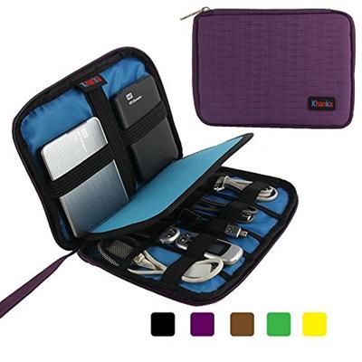 Khanka Portable Universal Electronics Accessories Travel Carrying Organizer  Case Bag For Various USB Cable, External Hard Drive, Apple iPad Mini,