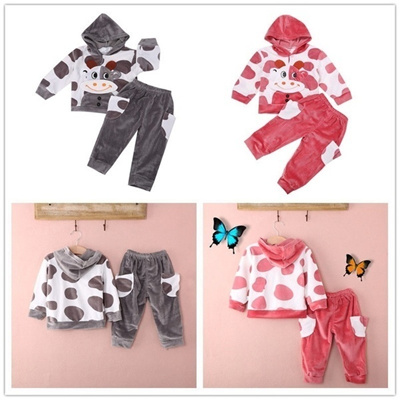 9537bc604 Qoo10 - Kid Baby Toddler Newborn Hoodie Pants Cattle Cow Cartoon Cute Set  Suit... : Women's Clothing