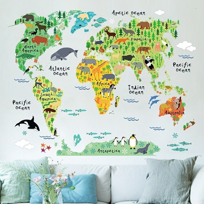 Qoo10 - Kid Room Wall Decoration Cartoon Animals World Map Wall ...