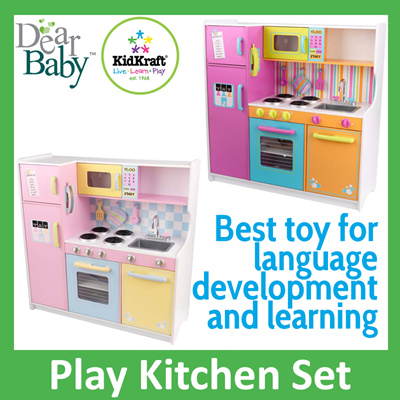 Wooden Kitchen Set Kidkraft Deluxe And Bright Pastel Large