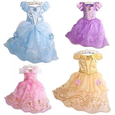 Kid Girls Costumes Aurora Sandy Rapunzel Belle Princess Party Fancy Dress gift