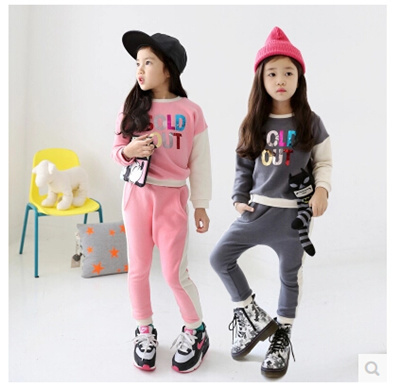 Kids Girls Spring and Autumn new Korean cotton small cartoon big boy casual clothes sports Children