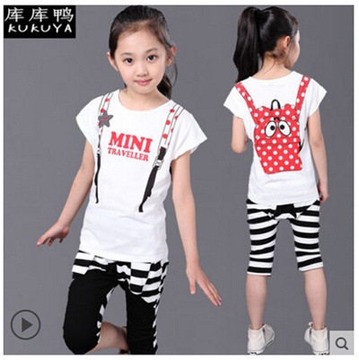c1b33f0283b6 Kids girls summer clothes new girls short-sleeved pants influx of children  sports suits 6