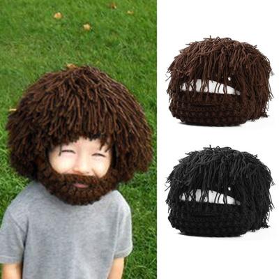 281dd8aa Kids Knit Crochet Beanie Cap Face Warmer Beard Tassels Periwig Hat