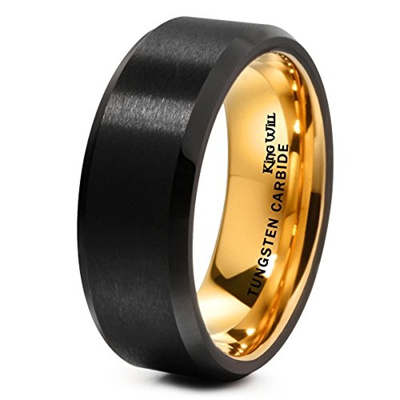 0f231ca619b King Will DUO 8mm Black Matte Finish Tungsten Carbide Ring 18K Gold Plated  Beveled Edge Wedding