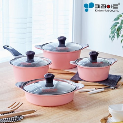 Kitchen Art LCH Store Korean Best Selling Juliet Ceramic Coating 4 Pots  Set. 16